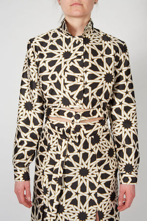 Black and White Print Cropped Jacket