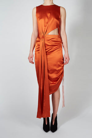 Silk Drawstring Midi Dress