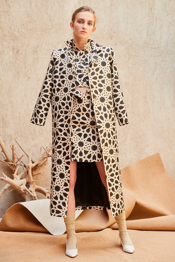 Black and White Print Coat
