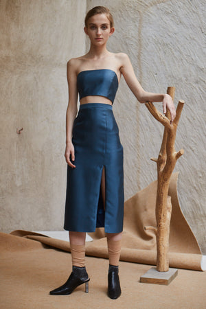 Mikado Slit Pencil Skirt