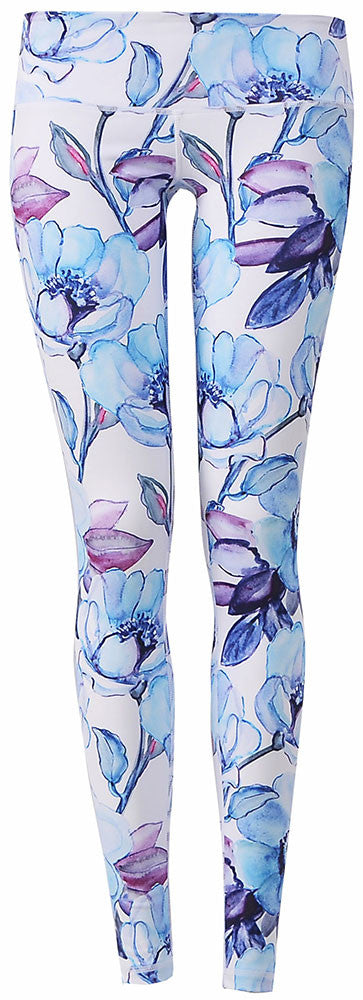 Watercolor Art Legging : Blue Flower Bloom (Low-rise)