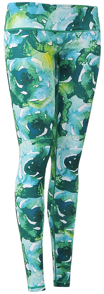 Watercolor Art Legging : Green Flower Garden (Low-rise)