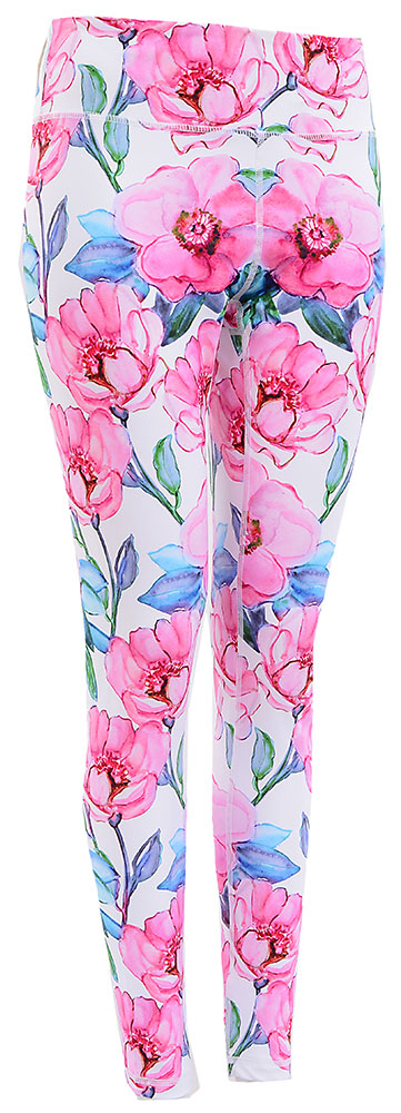 Watercolor Art Legging : Pink Flower Bloom (Premium High-rise)