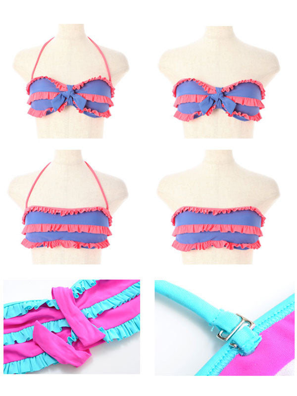 Sweet Triple Frills Bandeau Bikini (Blue x Orange)
