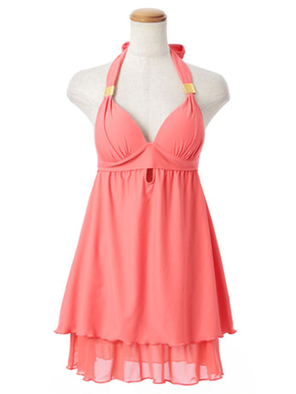 Fresh Orange Halterneck Tunic Bikini - Rosie
