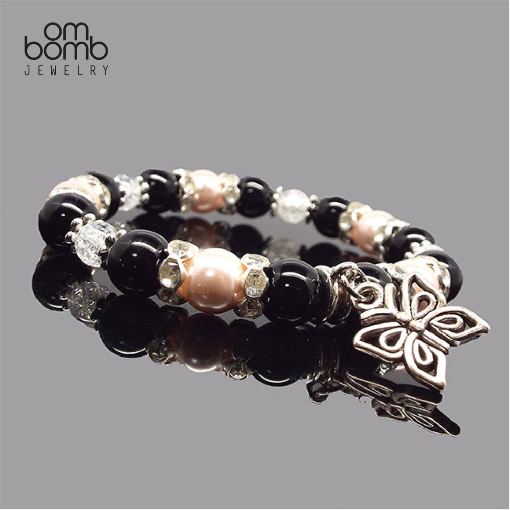 Gemstone Jewelry : Bracelet - Black Onyx Sweet Butterfly Charm