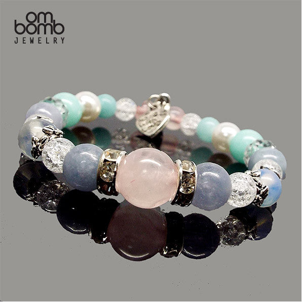 Gemstone Jewelry : Bracelet - Aquamarine x Rose Quartz