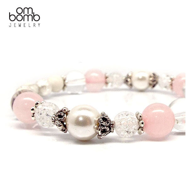 Gemstone Jewelry : Bracelet - Rose Quartz Crystal & Howlite
