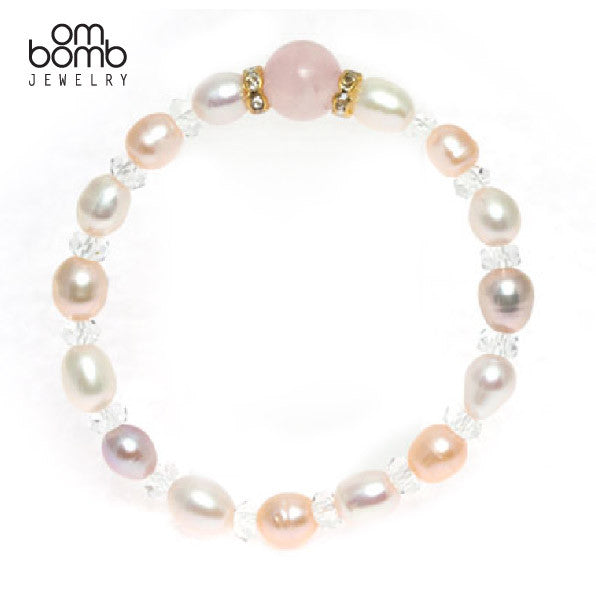 Gemstone Jewelry : Bracelet - Rose Quartz  & Fresh Water Pearl