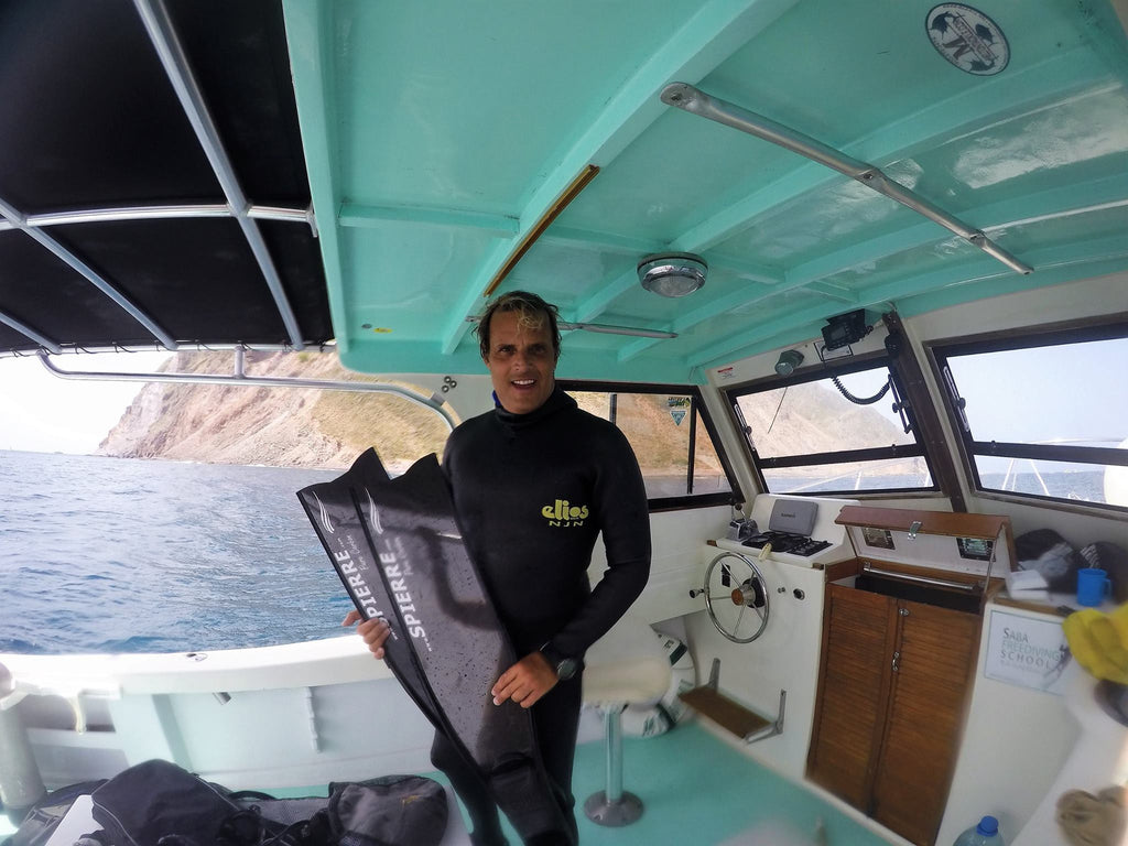 Luis E Fonseca Barnola of Saba Freediving with his Spierre fins in Bonaire