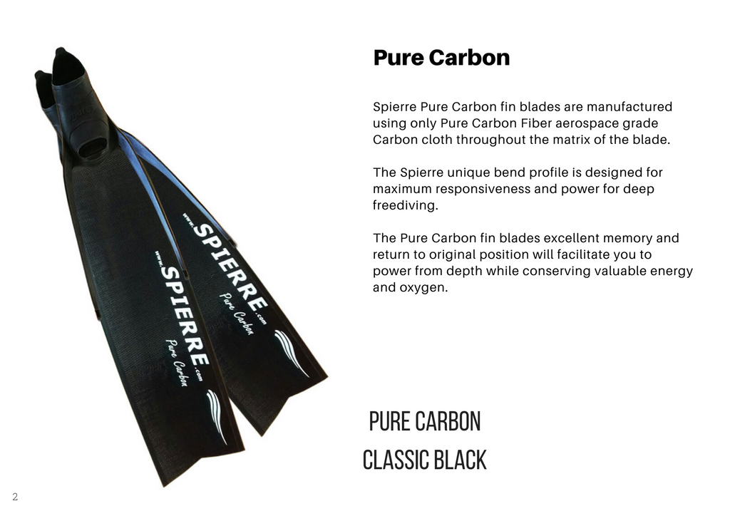 Spierre Pure Carbon Power Fin Blades for Spearfishing & Freediving