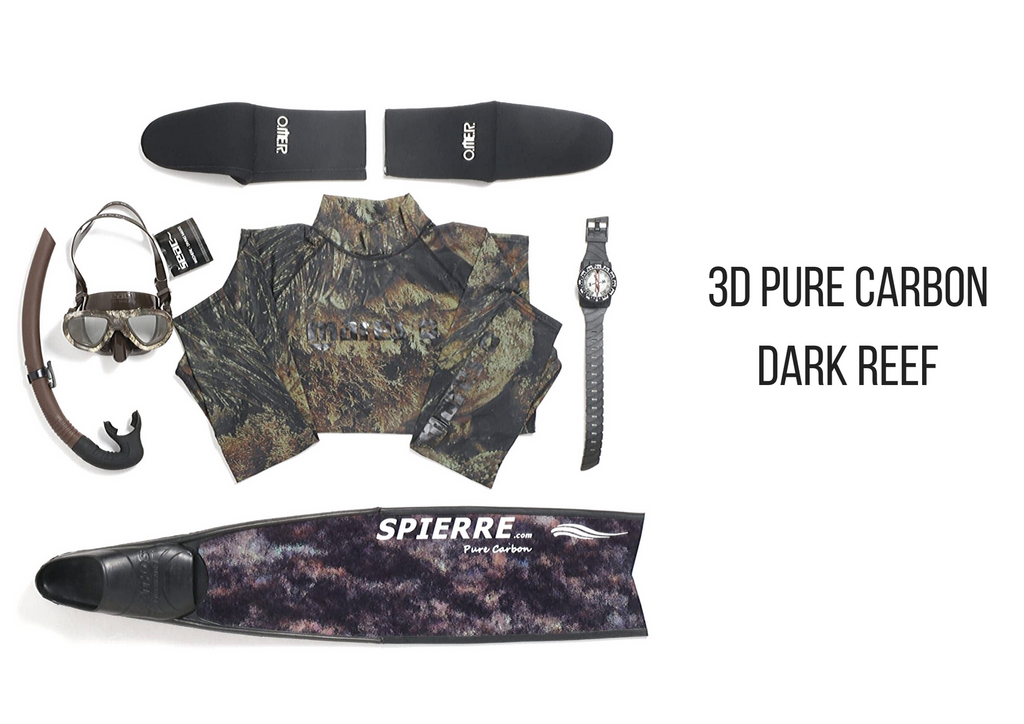 Spierre 3D Pure Carbon Dark Reef Fin Blades for Spearfishing & Freediving