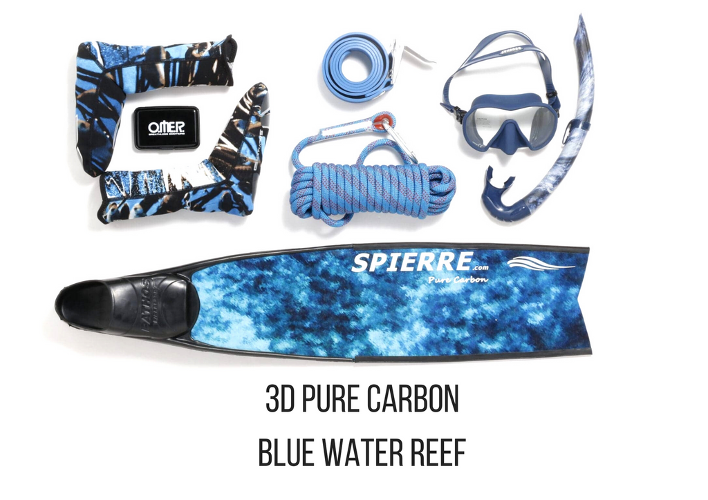 Spierre 3D Pure Carbon Blue Water Reef Power Range Fin Blades for Spearfishing