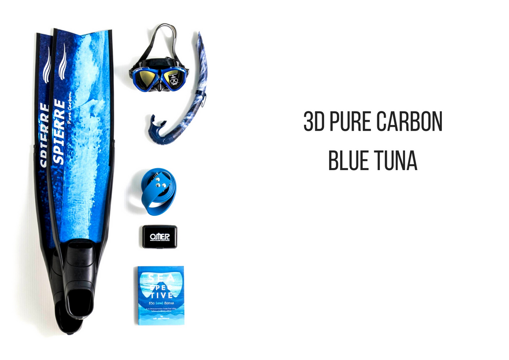 Spierre 3D Pure Carbon Blue Tuna Power Range fin blades for Spearfishing