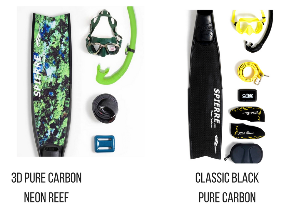 Spierre 3D Pure Carbon Neon Reef Power Range Fin Blades for Spearfishing & Freediving