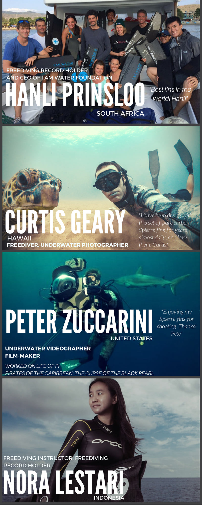 Hanli Prinsloo, Curtis Geary, Peter Zuccarini, Beth Neale, I Am Water Foundation, All featured divers of Spierre fins