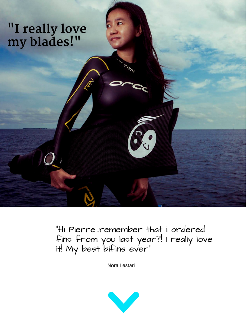 Spierre Custom Handcrafted Pure Carbon fins, Spierre fin Review, Best fins for Searfishing and freediving, Nora Lestari