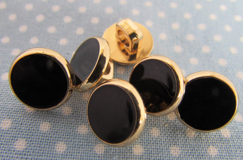 10mm Black and Gold Dress Shirt Buttons Shank Fastening