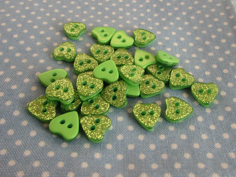 GREEN GLITTER HEART BUTTONS