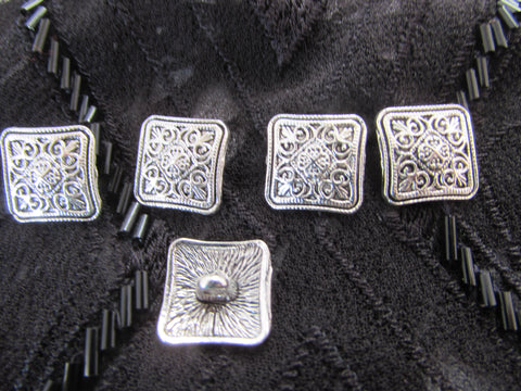 Tibetan Silver Square Buttons