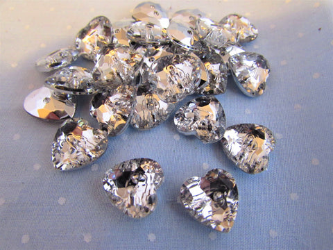 Silver Backed Crystal Hearts