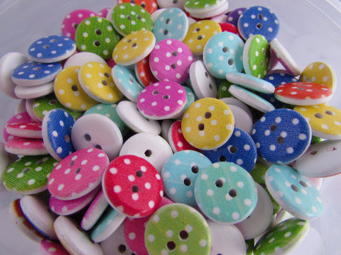 15mm Wooden Spotty Buttons