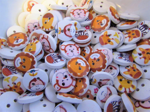 15mm Wildlife Animal Wooden Buttons