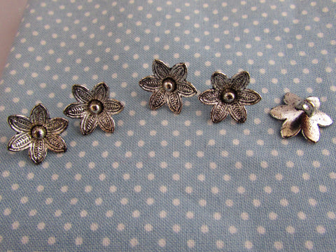 Tibetian Silver Flower Buttons with Raised Petals