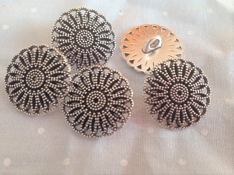 Tibetian Silver Filigree Flower Buttons