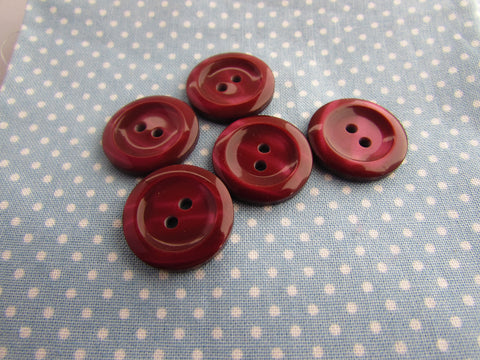 20mm Wine Colour Shimmer two Tone Lipped Buttons