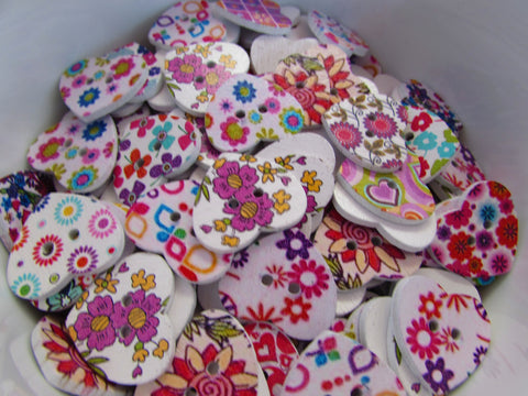 Assorted Floral Wooden Heart Buttons