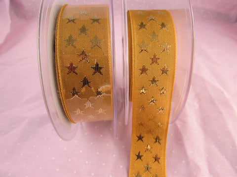 25mm Gold Ribbon with a Gold Star