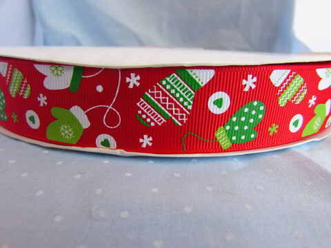 9mm Red Christmas Ribbon with Mitten Print
