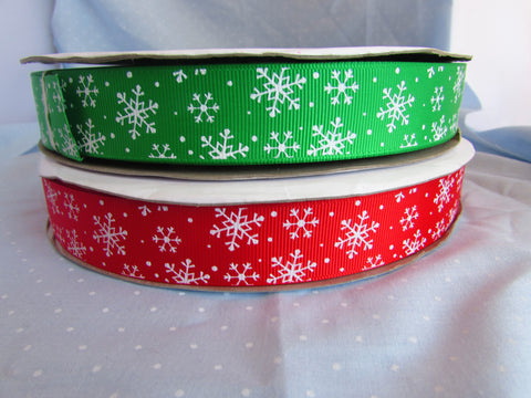 Red of Green Snowflake Ribbon