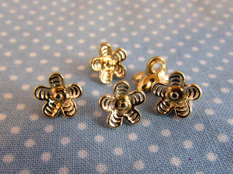 9mm Gold Flower Shaped Metal Buttons