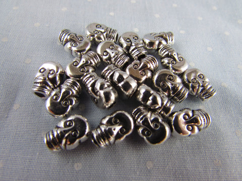 9mm Silver ABS Skull Beads