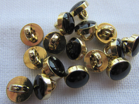 8mm Black and Gold Shirt Buttons on a Shank Fastening