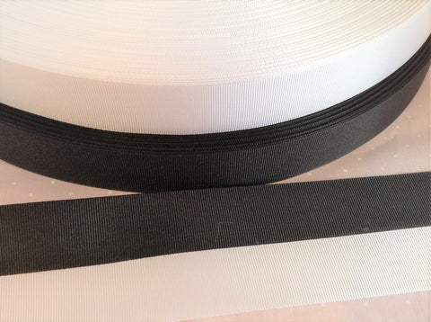 15mm & 25mm Black or White Grosgrain Ribbon