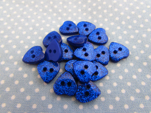 15mm Blue Glitter Heart Buttons