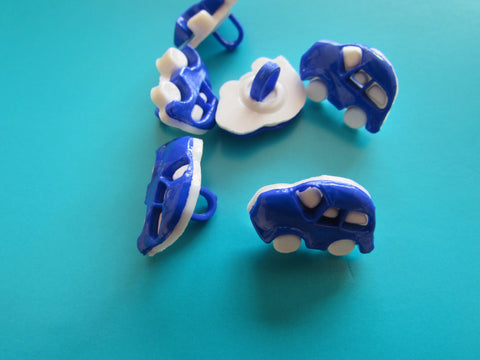 Blue and White Shank Car Buttons