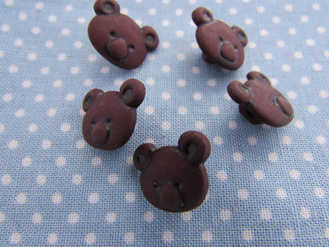 Brown Teddy Bear Head Shaped Buttons