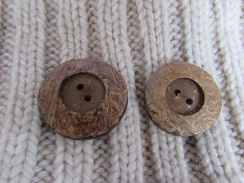 34mm and 38mm Large Rimmed Coconut Buttons
