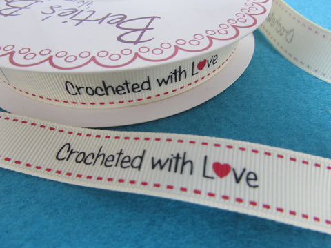 IVORY CROCHETED WITH LOVE LABEL RIBBON