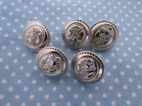 15MM SILVER DECORATIVE ANCHOR BUTTONS