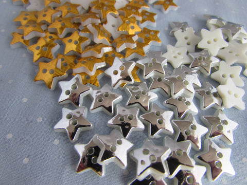 SILVER OR GOLD STAR BUTTONS