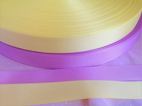 15mm & 25mm Lemon or Lilac Grosgrain Ribbon
