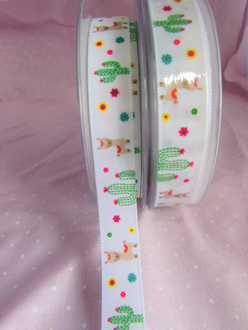 White Llama and Cactus Ribbon