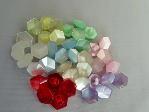11mm Pearlescent Hexagonal Buttons in Assorted Colours