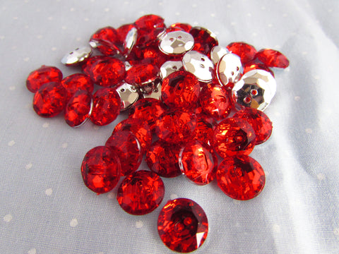 Round Red Acrylic Crystal Buttons