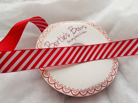 25m Red and White Candy Stripe Ribbon 16mm Wide